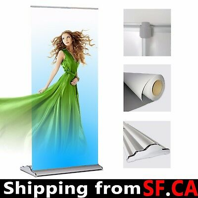 """5 PACK,35.5""""x 80"""",Deluxe Retractable Roll Up Banner Aluminum Stand,Adjustable"""