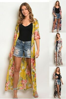 4cb31ae17ca8c Women's Floral Long Maxi Duster Sheer Cardigan Kimono Loose Flowy Open Top  Small