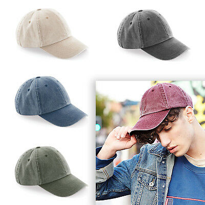 Beechfield Low Profile Vintage Cap Distressed  Baseball Unisex Hat Cotton (B655)