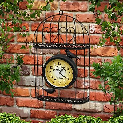 Vintage Antique Style Metal Garden Wall Clock Black Bird Cage Battery Operated