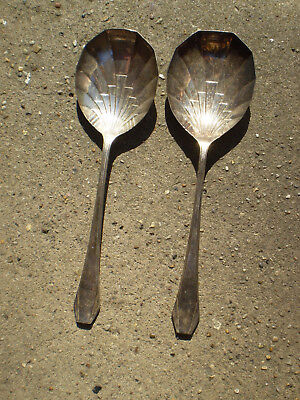 Pair of Vintage 1930s Art Deco Silver Plated Serving Spoons