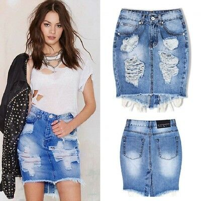 UK Womens Celeb Ripped Frayed Stretch Bodycon High Waist Jean Denim Skirt 6-16