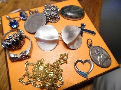 Vintage lot of Sterling and Costume Jewelry earrings, rings, chains, Misc. items