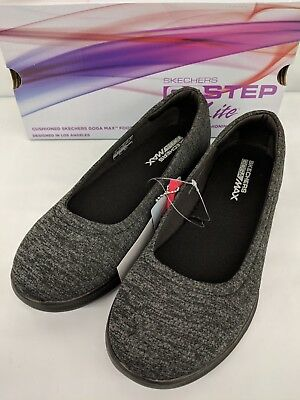 Skechers Womens Go Step Lite Performance Slip On Shoe Black Grey NEW