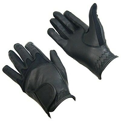 Bitz Horse Rider Bitz Flex Leather Gloves Adult Black Large Horse Riding Wear -