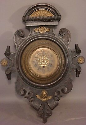 19thC Antique VICTORIAN Wood CARVED Figural BRASS Winged ANGEL Ormolu WALL CLOCK