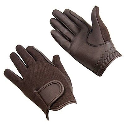 Bitz Horse Rider Bitz Synthetic Gloves Adult Brown X Small Horse Riding Wear -