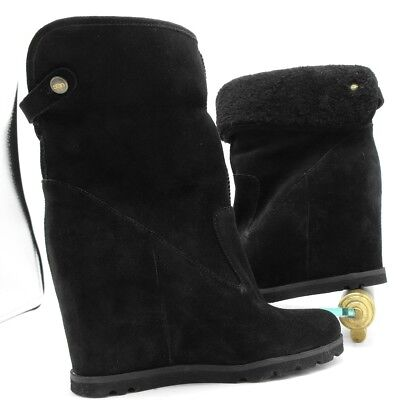 0962bc9da09 UGG AUSTRALIA Boots Kyra UGG Shearling Leather Cuffed Black Wedge Booties  size 7