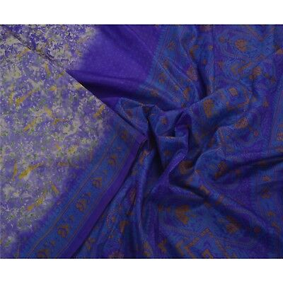 Sanskriti Antique Vintage Blue Saree Pure Silk Printed Sari Craft 5 Yard Fabric