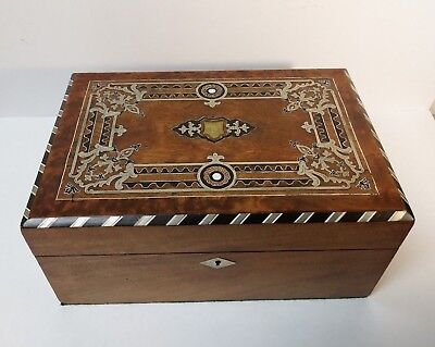 19th Century Sterling Silver Inlaid Jewelry / Keepsake Box, 1870-1880