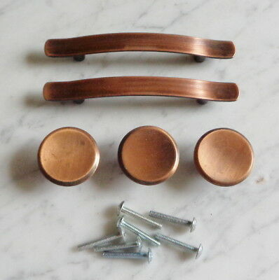 Set of 5 Vintage Copper Cabinet Door Drawer Pull Handles & Knobs