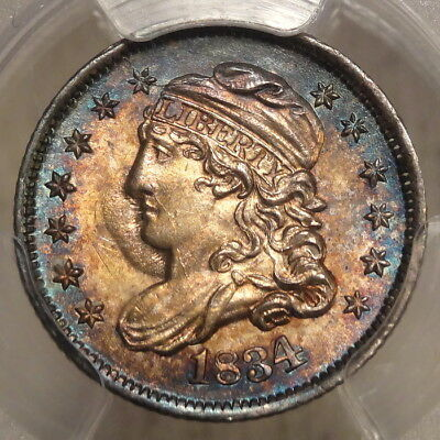 1834 Capped Bust Half Dime, Choice Uncirculated PCGS MS-64, Great Color, Toning