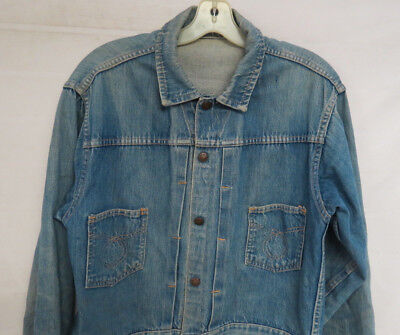 Vintage Denim Jacket Pleated Front Selvage Snap Front Distressed Mens Size