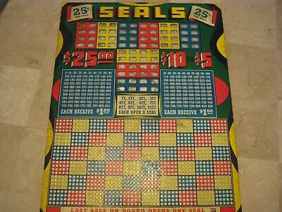 "Vintage Unused Punch Board Trade Stimulator ""Seals"" 25 cent 14""x11"""