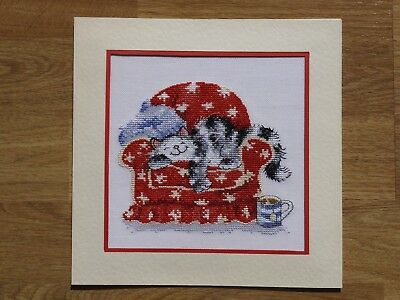 Completed Cross Stitch Card - Cute Cat