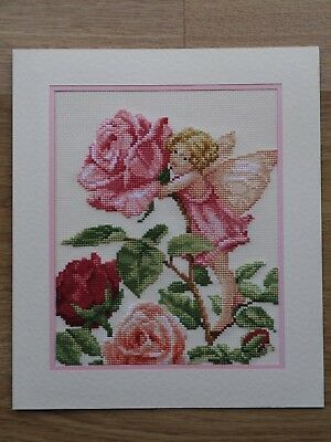 Completed Cross Stitch Card - Rose Fairy