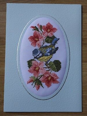 Completed Cross Stitch Card - Bluetit On Flowers