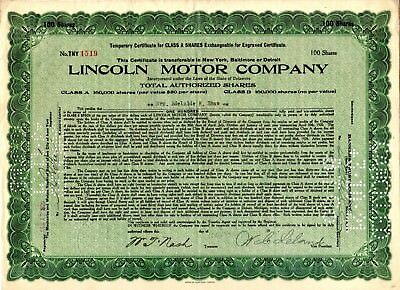 Lincoln Motor Company 1920 Stock Certificate green -rough border or staple holes