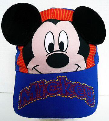 Authentic Mickey Mouse With Ears Walt Disney Blue Red Toddler Baseball Hat