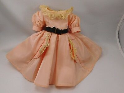 "VNTG 1950s Madame Alexander Peach Dress w/ Belt & panty, fits 14"" Doll, tagged"
