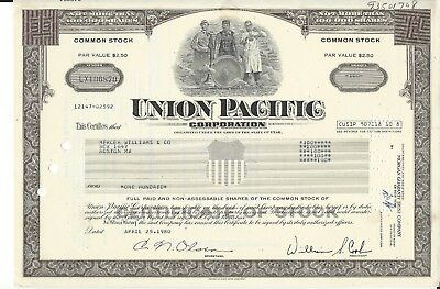 1980 Union Pacific Corporation Common Stock Certificate 100 Shares