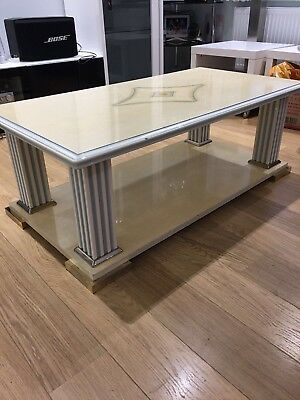 Antique Sturdy Heavy Greek Stone Bronze Detail Cream Coffee Table COLLECTION