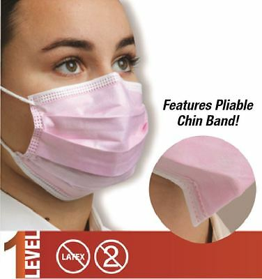 50X Defend Dual Fit Pleasted EarLoop Surgical Flu Medical Face Mask Level 1 BLUE