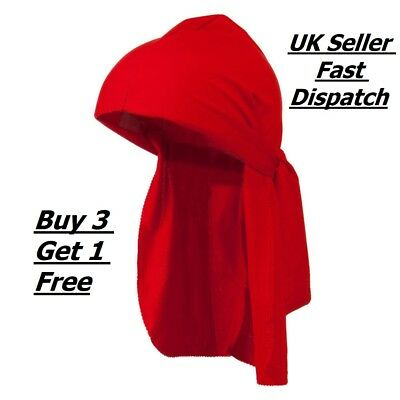 Red Men's Durag Bandanna Sports Du Rag Scarf Head Rap Tie Down Band Biker Cap UK
