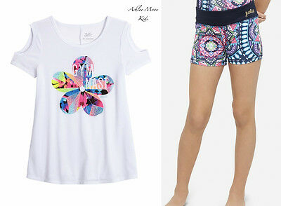 NWT JUSTICE 10 GYMNAST Cold Shoulder Tee & Navy Geo Print Compression Shorts