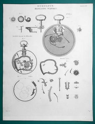HOROLOGY Clocks Repeating Watches - 1815 Antique Print by A. REES