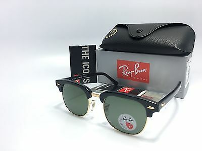 ef6a9b0610 Ray Ban RB3016 Clubmaster 901 58 POLARIZED Black Gold Frame Green Lens 51mm