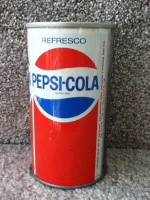 Pepsi-Cola from Mexico. Straight steel, pull top. 355 ml. No bar code listed