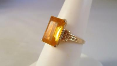 Vintage Antique 10K Solid Yellow Gold 4.0ct Yellow Glass Ring   2.3G  Size 7.25