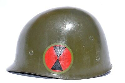 US ARMY M1 HELMET LINER 7th INFANTRY DIVISION PAINTED MAJOR INSIGNIA NAMED