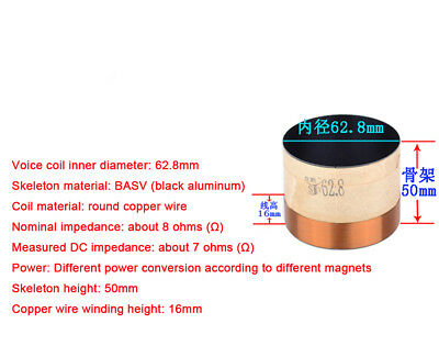 1x 62.8mm Complete Voice Coil 8R Ohm BASV ASV KSV Copper Wire Subwoofer Parts