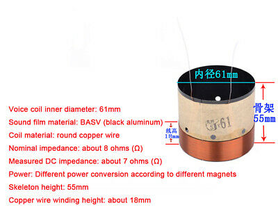 1x 61mm Complete Voice Coil 8R Ohm BASV ASV KSV Copper Wire Subwoofer Parts