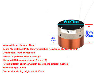 1X 76mm Complete Voice Coil 8R Ohm BASV ASV KSV Copper Wire Subwoofer Parts