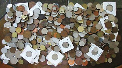 8½ POUNDS of OLD WORLD COINS(POSSIBLY SCATTERING OF TOKENS)>HUGE LOT > NO RSRV