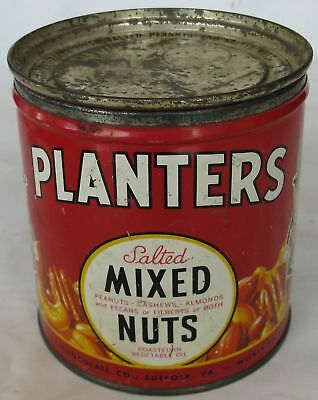 Vintage Planters Advertising Tin Salted Mixed Nuts