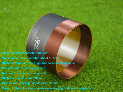 1X 99.2mm Complete Voice Coil 8R Ohm BASV ASV KSV Copper Wire Subwoofer Parts