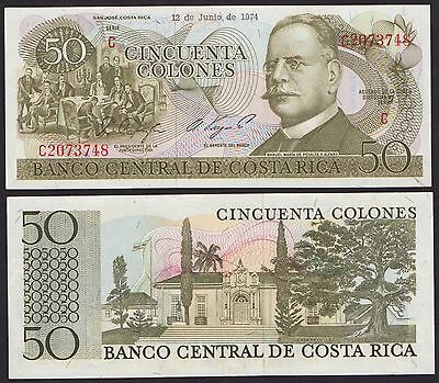 Costa Rica P239***50 Colones***nd 12-06-1974***unc**see Full Description