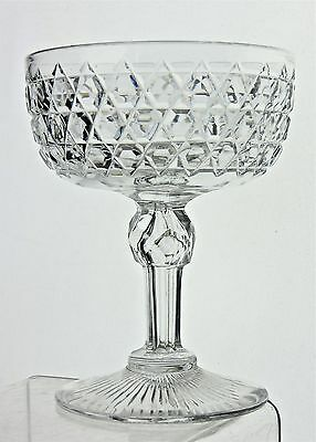 Antique Wine Champagne Dessert Coupe Glass Diamond Cut Stemware