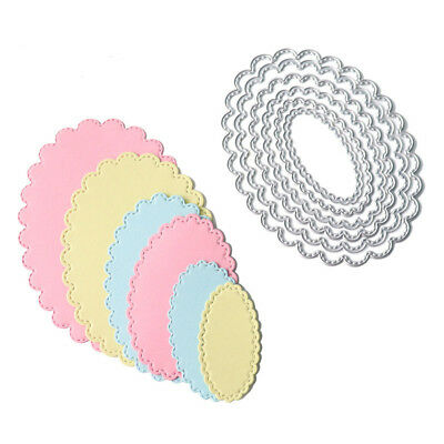 6pcs oval metal cutting dies stencil scrapbook album paper embossing craftSC