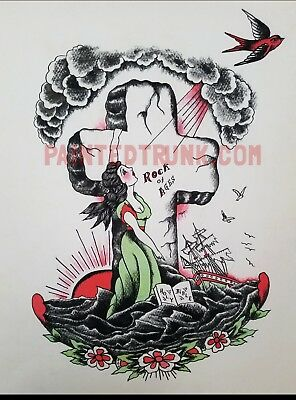 1950s vintage rock of ages bill the beachcomber tattoo flash giclèe print 16x20