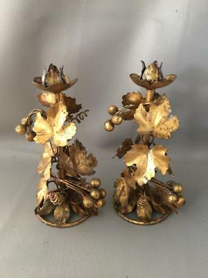 Antique Vtg Italian Gold Gilt Metal Tole Grapes & Leaves Candle Holder Pair