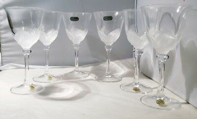 """JG Durand Florence Satine 6 Crystal Wine Glasses frosted petals 6.75"""" wine glass"""