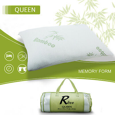 2 Pack Bamboo Memory Foam Hypoallergenic Bed Pillow New Improved