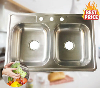 """Stainless Steel Over-Mount Kitchen Sink Double Bowl 50/50 3 Holes 33"""" x 22"""" x 6"""""""