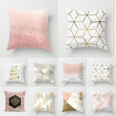 Gold Shining Printed Polyester Throw Pillow Case Sofa Cushion Cover Home Decor A