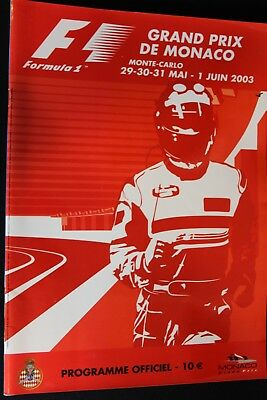 Program 2003 Monaco Grand Prix Formula 1 with 11 signatures (NA)